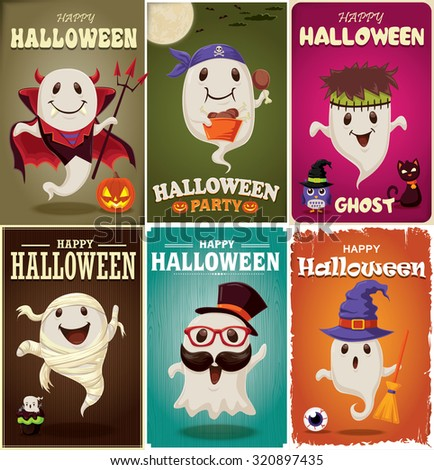 Vintage Halloween poster design set with ghost character - stock vector