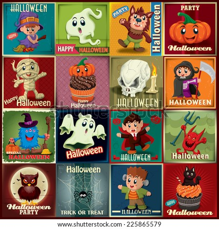 Vintage Halloween poster design set with kids in costume  - stock vector
