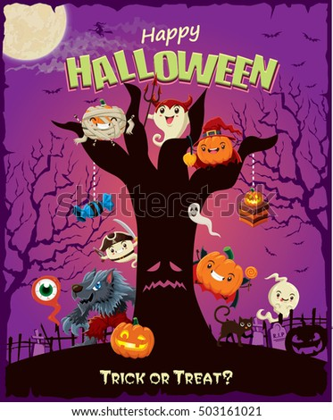Vintage Halloween poster design set with pumpkin, witch, wolf man, pirate, ghost, mummy, character.
