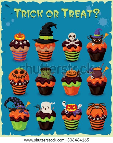 Vintage Halloween poster design with cupcake set - stock vector