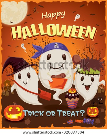Vintage Halloween Poster Design Ghost Character Stock ...