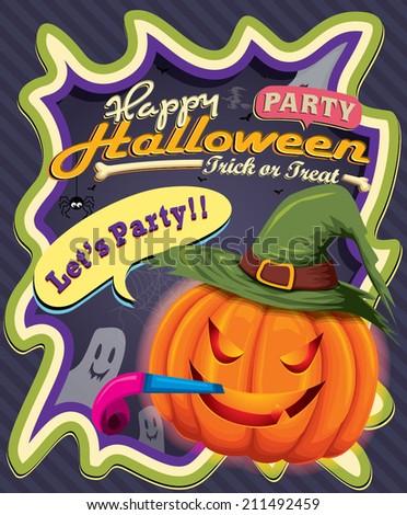 Vintage Halloween poster design with Jack O Lantern - stock vector