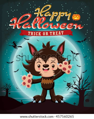 Vintage Halloween poster design with vector wolf man character. - stock vector