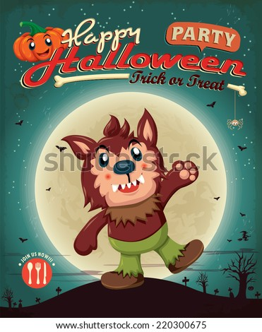 Vintage Halloween poster design with wolfman - stock vector