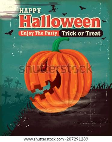 Vintage Halloween poster set design with pumpkin head - stock vector