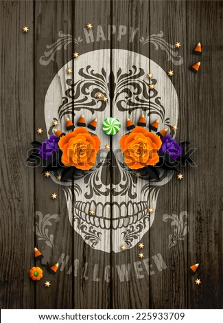 Vintage Halloween poster with sugar scull print  decorated with sweets treats, roses and golden stars.  - stock vector