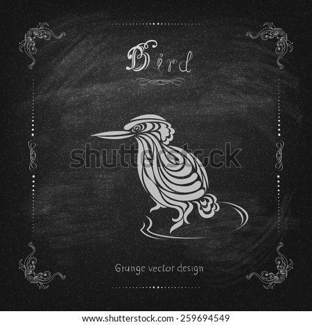 Vintage hand drawing bird vector eps 10