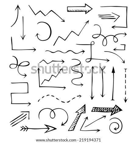 Vintage hand drawn arrows isolated on white background. Editable business design elements. Vector illustration. - stock vector