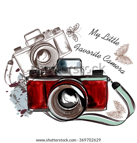 Vintage hand drawn camera with butterflies my favorite camera - stock vector