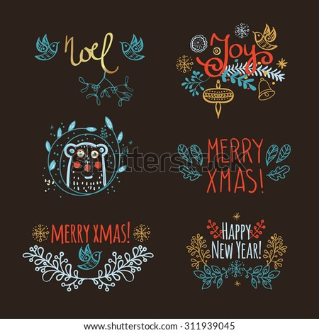 Vintage Hand Drawn Christmas floral set headline, labels, emblems and other decorative elements  for design and scrapbook  - stock vector