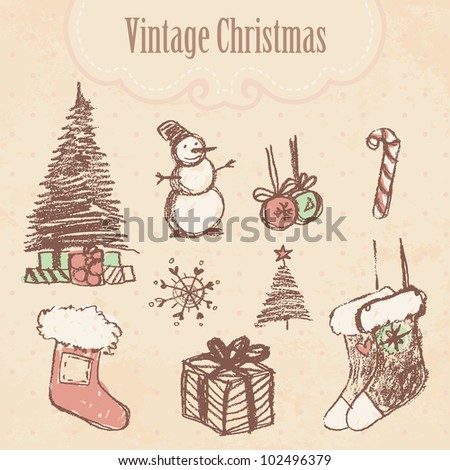 Vintage hand drawn christmas set. Vector illustration.