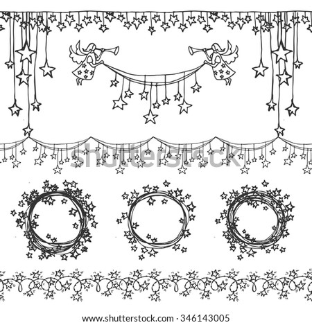 Vintage hand drawn Christmas set with angel and stars. Holiday design elements. Frames, seamless ribbons and vignette. - stock vector