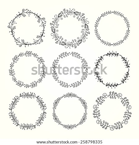 vintage hand drawn decorative frames made of floral elements, vector illustration - stock vector