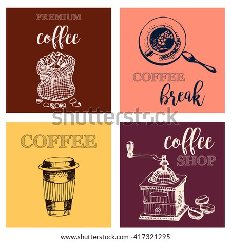 Vintage Hand Drawn Design Elements For Coffee Shop, Market, Cafe . Printable Typography for Card, Poster, Banner, T-shirt.