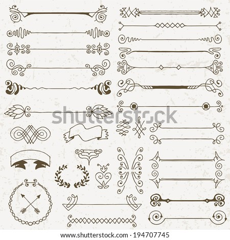 Vintage hand drawn design elements set 2. Vector illustration. - stock vector