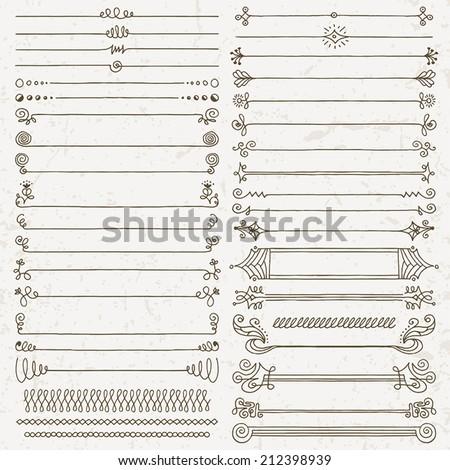 Vintage hand drawn design elements set 7. Vector illustration. - stock vector