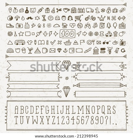 Vintage hand drawn design icon set and alphabet. Vector illustration. - stock vector