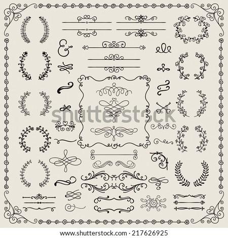 Vintage Hand Drawn Doodle Design Elements. Vector Illustration. Frames, Borders, Brackets, Dividers, Swirls. - stock vector