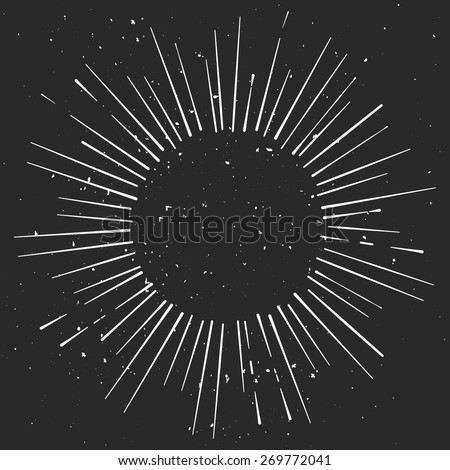 Vintage  hand drawn eclipse with rays, starburst template with a space for your text, company name or slogan - stock vector