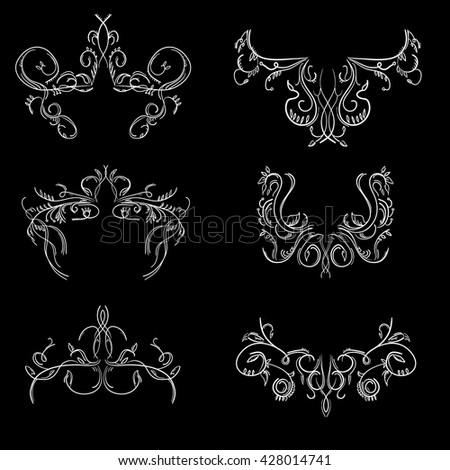 Vintage hand drawn engraving design floral frames and design elements vector illustration on black background - stock vector