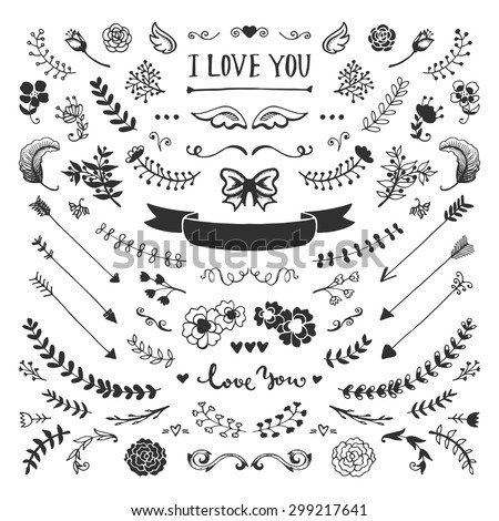 Vintage hand drawn floral elements collection. Vector sketch elements set. Illustration with flowers and leaves, arrows and frames. - stock vector