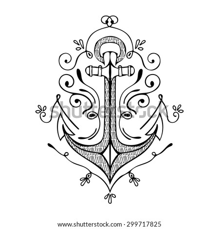 Vintage Hand Drawn Flourish Anchor. Vector illustration