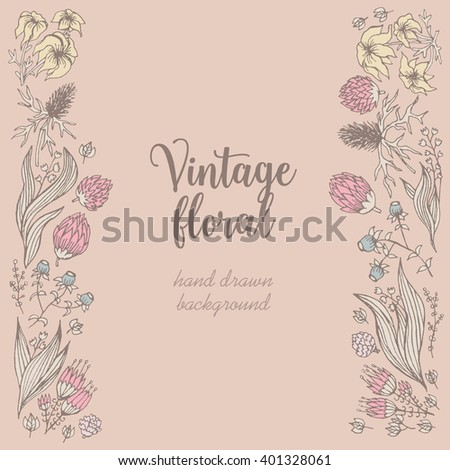 Vintage hand drawn frame with floral pattern
