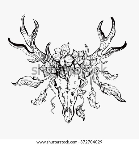 Vintage hand-drawn graphic of deer, flowers and feathers (can be used as a textile and t-shirt print or adult coloring book page).EPS - stock vector