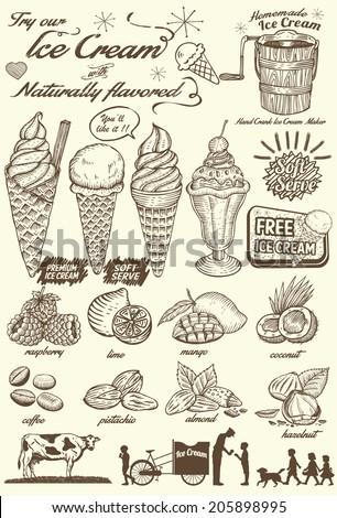 Vintage hand drawn ice cream - stock vector