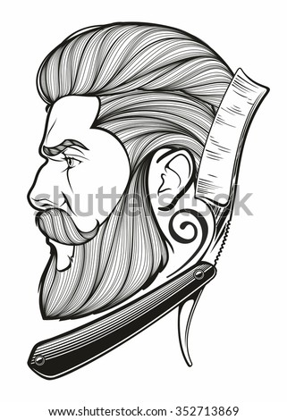 vintage hand drawn logo of barber shop - stock vector