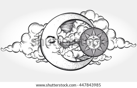 Vintage Hand Drawn Moon Sun Night 516293752 on eclipse drawing