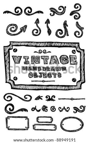 Vintage Hand Drawn Objects - stock vector