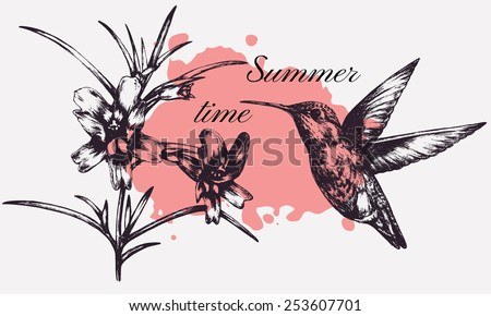 Vintage hand-drawn picture. T-shirt design. Vector floral background. Graphic illustration. hummingbird and flowers