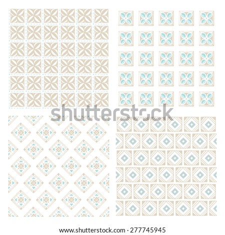 Vintage hand drawn seamless patterns. Vector set