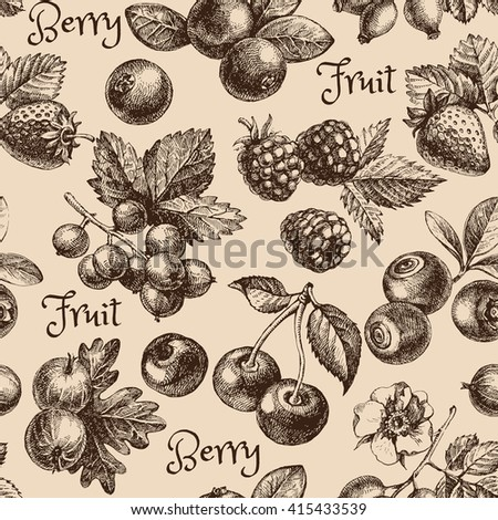 Vintage hand drawn sketch berries seamless pattern. Vector illustration - stock vector