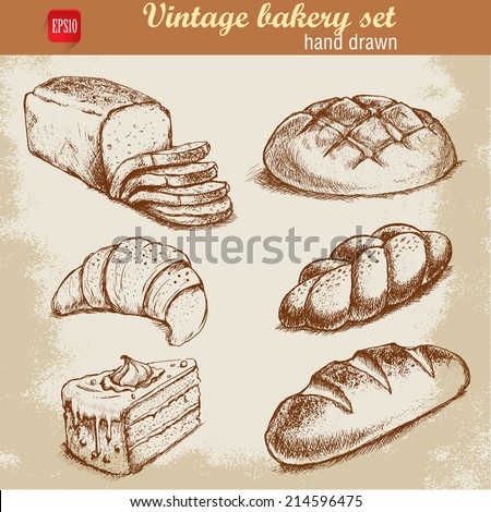 French Baguette Drawing Vintage Hand Drawn Sketch