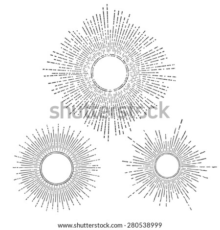 Vintage Hand Drawn Sunbursts set with place for text - stock vector