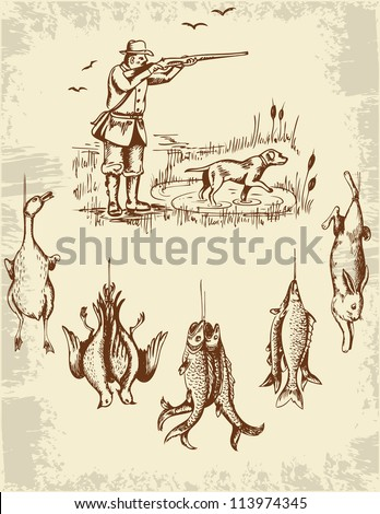 Vintage hand drawn wild animals and hunter - stock vector