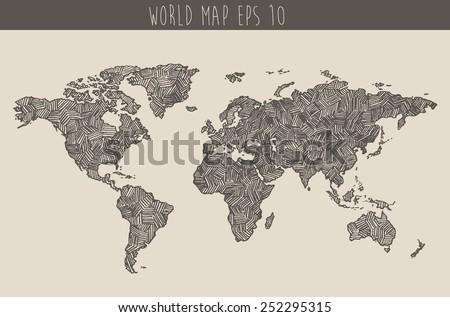 Vintage hand drawn world map, vector illustration, sketch  - stock vector