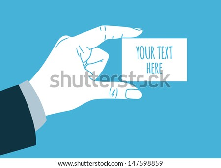 vintage hand silhouette giving blank Business card - stock vector