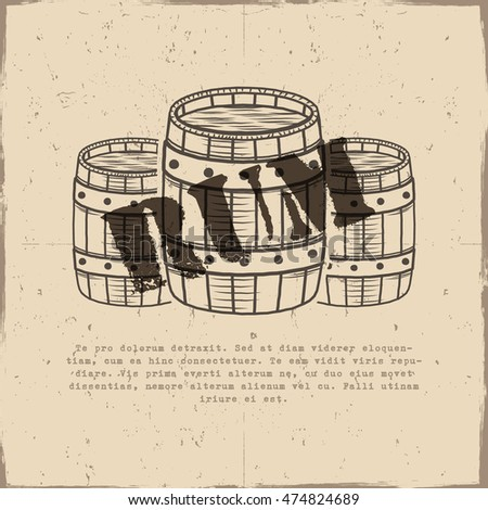 Vintage handcrafted poster template with old barrels and vector sign - rum. Sketching filled style. Retro design for banner, flyer. Isolated on old paper background. Vector