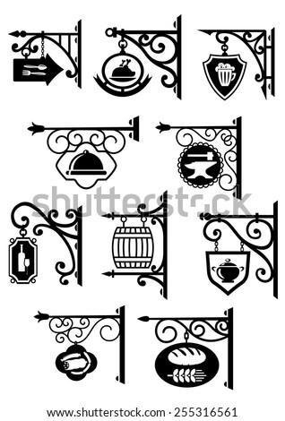 Vintage hanging signboard decorative forging elements with bakery, butcher shop, restaurant, pub, bar and workshop symbols - stock vector