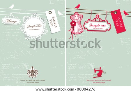 Vintage hanging tag design - stock vector