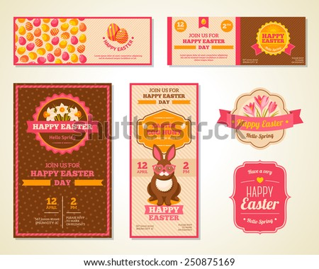Vintage Happy Easter Greeting Cards Design. Vector Illustration. Retro Banners or Flyers with Patterns. Easter Rabbit with Hipster Glasses. Crocuses and Daffodils Frame Composition with Ribbon. - stock vector