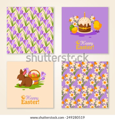 Vintage Happy Easter Greeting Cards. Vector Illustration. Retro Patterns with Crocus Flowers and Daffodil. Easter Rabbit with Eggs Basket. Easter Cake Composition with Cute Chicken. - stock vector
