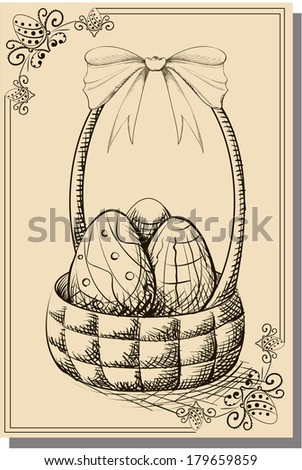 Vintage happy easter postcard with eggs in the basket. Vector Illustration. - stock vector