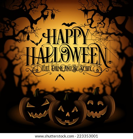 Vintage Happy Halloween Typographical Background With Pumpkins - stock vector