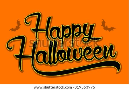 Vintage Happy Halloween Typographical Orange Background Stock ...