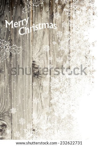 Vintage Happy Merry Christmas Greeting Card. Vertical Design, Right Side Isolated - stock vector