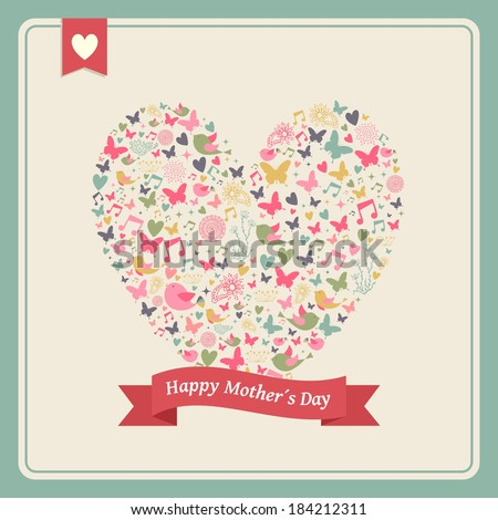 Vintage Happy Mothers Day greeting card celebration with heart love elements composition and blank space for your text. Vector illustration layered for easy manipulation and custom coloring. - stock vector